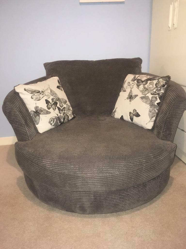 Dfs Charcoal Grey Cuddle Swivel Chair With Butterfly Cushions In Dundee Gumtree