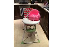 High chair (Mothercare) and pink booster seat, used but in good condition