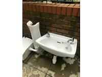 Toilet sink and pedestal