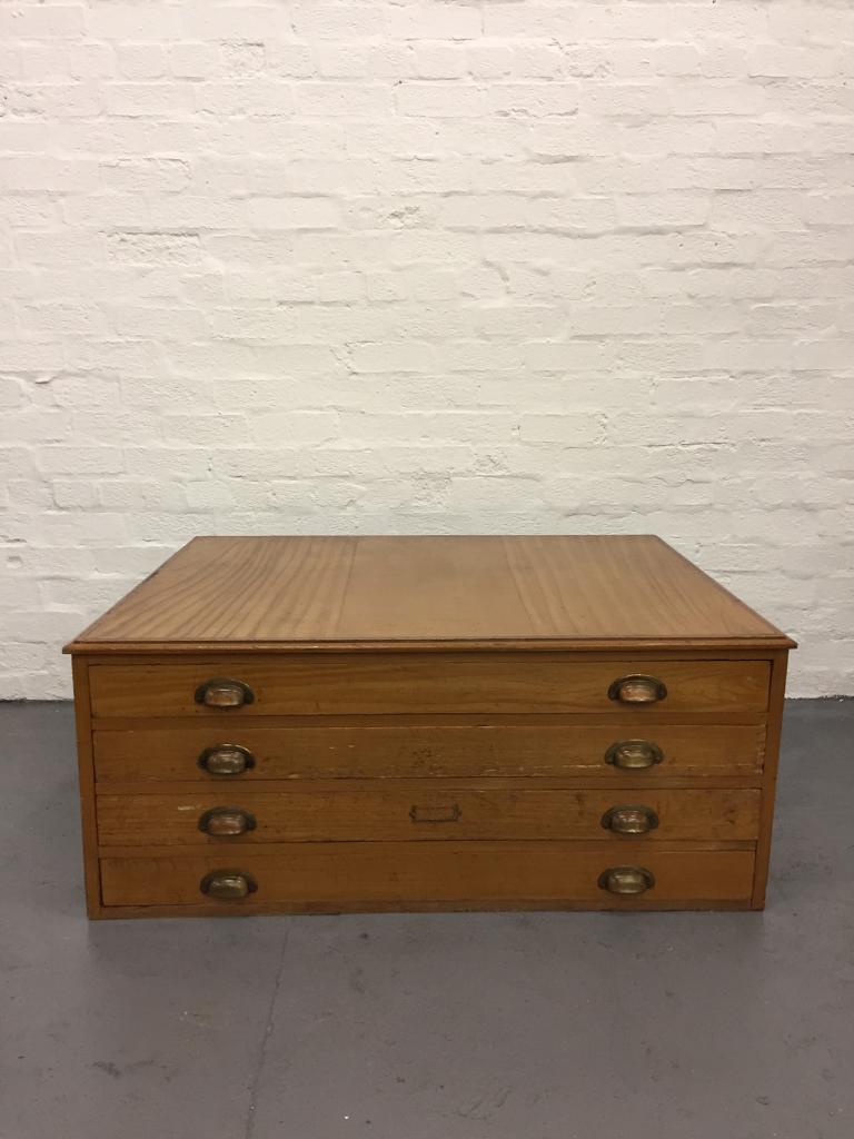 1950s Wooden Vintage Plan Chest Industrial
