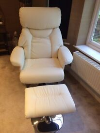 2 swivel recliner chairs and footstools, can separate, cream faux leather