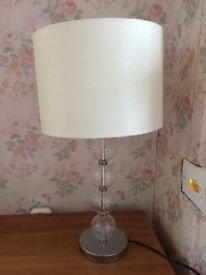 Table lamp, cream shade with contemporary stand