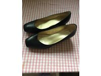 SOFT leather black shoes, wide fit