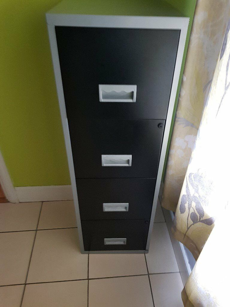Tall Office Filing Drawer Unit - Black / Silver