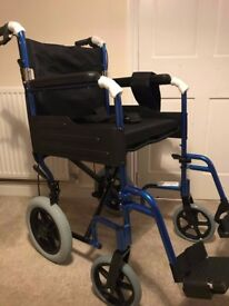 Angel Mobility Aliminium Lightweight Foldable Transport Travel Wheelchair, NEW, Metallic blue.