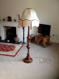 Antique wooden lamp stand with handmade shade