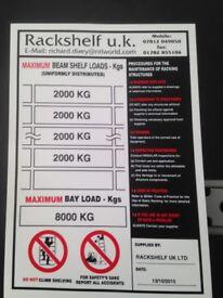 safe work load signs ( storage , shelving , pallet racking )