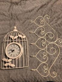 Shabby chic wall clock and coat hooks