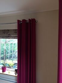 Dark pink lined curtains x two pairs