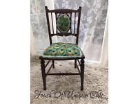 Edwardian parlour chair peacock fabric