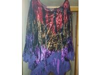 BEAUTIFUL MULTI COLOURED CRUSHED VELVET SHIRT 2X