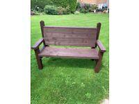 New handmade wooden 2/3 seater brown garden bench