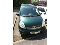 TOYOTA YARIS VERSO 2003 DIESEL CAR 1.3CC GREEN 5 DOORS, 5 MONTHS MOT, CHEAP TO RUN!!! FOR ONLY £599