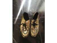 Creeper style size 6 gold shoes