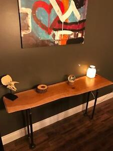 Handmade Rustic Cherry Slab Console Table