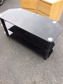 """Black Gloss Glass TV Stand Cabinet Cable Management LCD LED up to 65"""" Inches"""