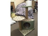 Cat tree - attractive green fabric