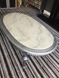 Marble effect coffee table up cycled