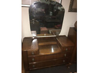 Charming Vintage Art Deco Two Piece Bedroom Set Chest of 4 Drawers and Dressing Table with Mirror