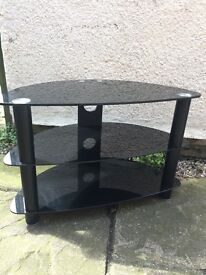 Black Glass TV Stand Large 3 Tier