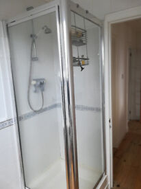 used shower enclosure 76x76cms with tray and waste pipe