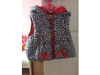 Girls leopard print body warmer 1-2 years
