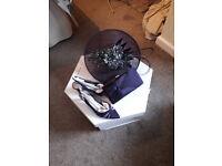 Jacques Vert Purple fascinator, shoes and matching handbag