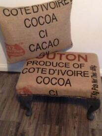 RECOVERED STOOL/ FOOTSTOOL & CHAIR CUSHION HESSIAN INDUSTRIAL/ URBAN STYLE