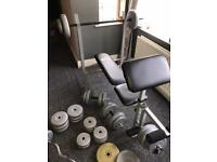 Bench and weights(93kg)