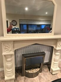 Mahogoney fire surround sprayed cream, cream mirror and electric fire