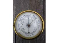 Large old brass aneroid barometer