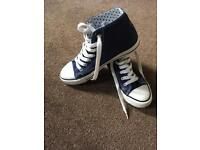 Red high tops size 4, blue high tops size 5