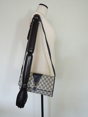 Vintage GUCCI Navy Monogram CROSSBODY Shoulder Flap Bag
