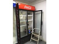 Coca cola double fronted commercial drinks fridge