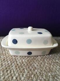 Blue and teal polka dot ceramic butter dish