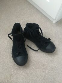 Black converse high tops trainers size 1