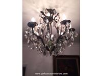VINTAGE FRENCH 1930'S BRASS 8 ARM CHANDELIER