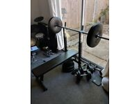 Gorilla Sports Weight Bench - 100KG Vinyl Weight Set