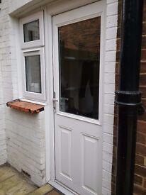 WHITE COMPOSITE HALF GLAZED DOOR AND DOUBLE GLAZED WINDOW