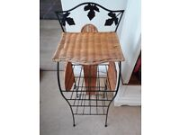 woven wicker and metal stand/shelving umit
