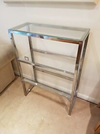 IKEA metal and glass shelves.