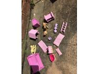 Wooden dolls toys pink