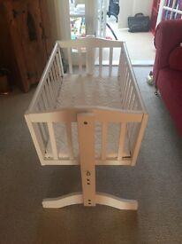 Baby's White Rocking Crib & Mattress