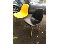 2 x eames vintage antique designer style chairs in plastic and wood