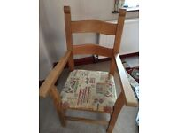 Double armed dining chair, cloth covered seat