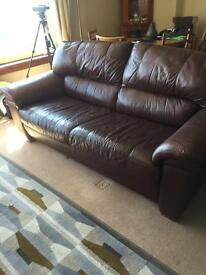 2 brown leather sofas and 1 chair. price reduced for quick sale