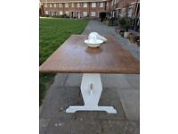 Rustic kitchen/dining table. Refectory style. Antique white shabby chic.