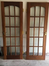 2 x 15 pane, solid wood, bevelled glass panelled doors with handles & hinges VGC