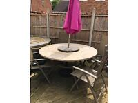 Hartman garden table with 4 reclinable chairs