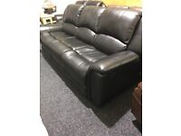 As new black leather 3/2 full recliner suite